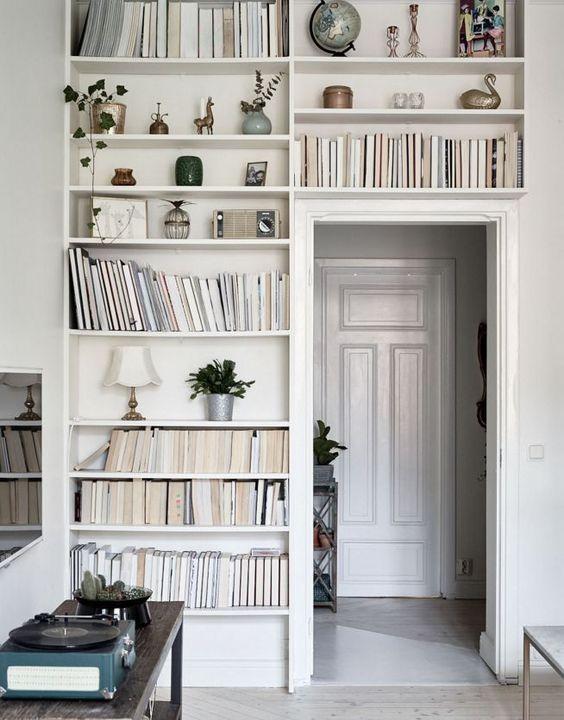 ceilng to floor book shelf storage idea